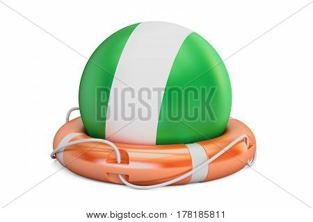 Lifebelt with Nigeria flag safe help and protect concept. 3D rendering