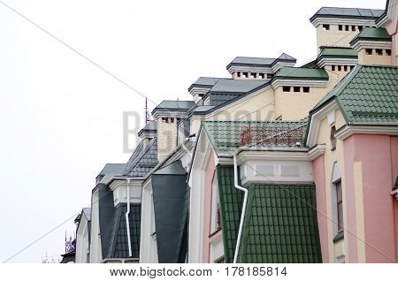 Architecture of the house colored Kiev new district