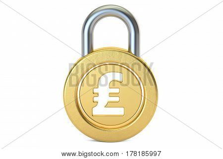 pound sterling padlock 3D rendering isolated on white background