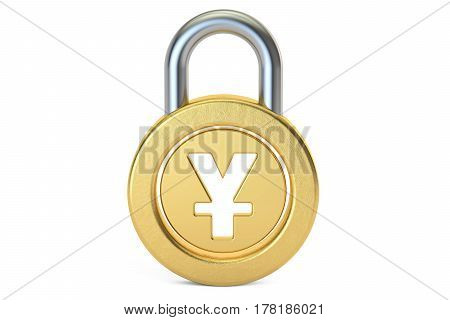 yen or yuan padlock 3D rendering isolated on white background