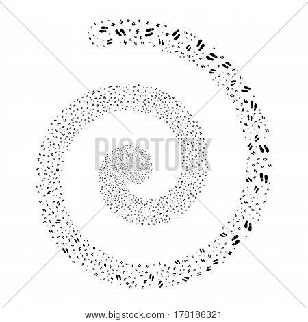 Boot Footprints fireworks swirl spiral. Vector illustration style is flat black scattered symbols. Object swirl constructed from scattered symbols.