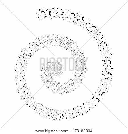 Call fireworks whirl spiral. Vector illustration style is flat black scattered symbols. Object whirl created from scattered design elements.