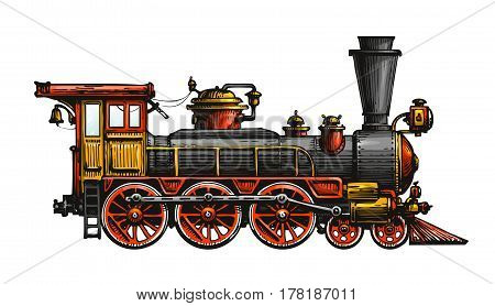 Vintage steam locomotive. Drawn ancient train, transport. Vector illustration isolated on white background