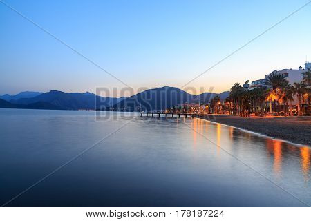 Marmaris beach evening on beach with mountains in Marmaris Turkey
