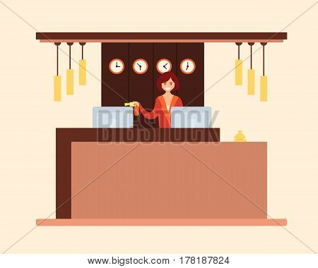 Woman receptionist holds the key to the hotel room. Vector illustration
