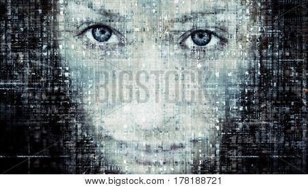 Woman face in abstract binary computer code background. Lost in the virtual world concept.