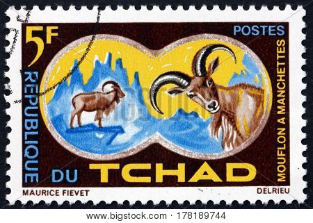 CHAD - CIRCA 1965: a stamp printed in Chad shows Aoudad or Barbary Sheep Ammotragus Lervia is a Species of Caprid circa 1965