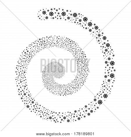 Cogwheel fireworks whirl spiral. Vector illustration style is flat black scattered symbols. Object whirl made from random symbols.