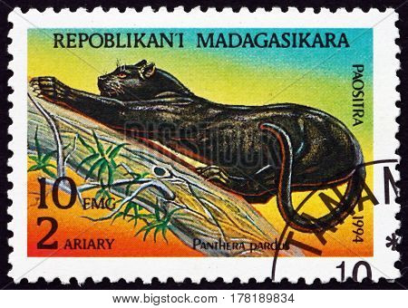 MALAGASY - CIRCA 1995: a stamp printed in Malagasy Madagascar shows Leopard Panthera Pardus Animal circa 1995
