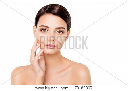 Portrait Of Pretty Healthy Woman Touching Her Face