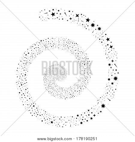 Confetti Stars fireworks swirling spiral. Vector illustration style is flat black scattered symbols. Object helix combined from scattered symbols.