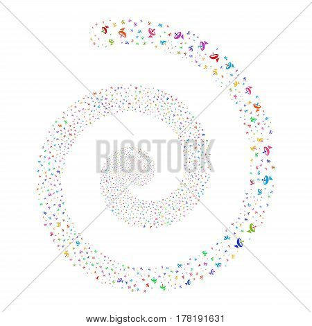 Antenna fireworks vortex spiral. Vector illustration style is flat bright multicolored scattered symbols. Object swirl organized from random symbols.