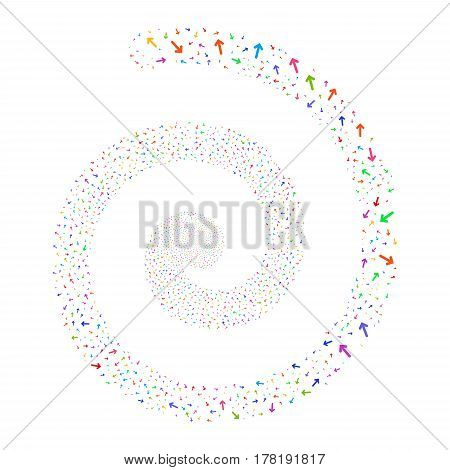 Arrow Direction fireworks burst spiral. Vector illustration style is flat bright multicolored scattered symbols. Object whirl combined from scattered icons.