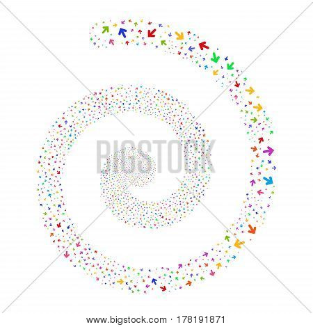 Arrow Direction fireworks vortex spiral. Vector illustration style is flat bright multicolored scattered symbols. Object swirl done from scattered pictograms.