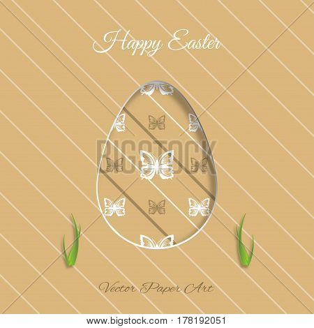 Vector poster of Easter egg with brown butterflies pattern grass cut from paper shadow and text on the light brown background with line pattern.