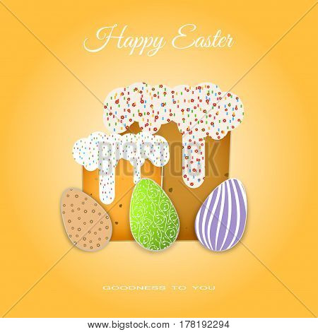 Vector poster of Easter Cakes with glaze and eggs with different patterns on the gradient yellow background with text.