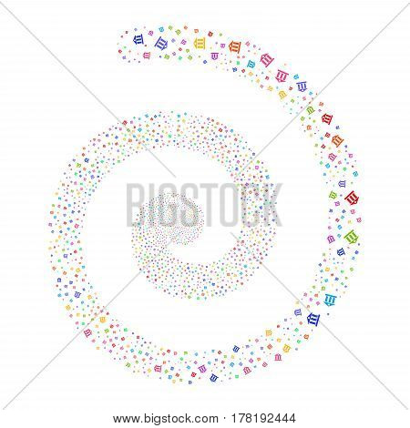 Bank Building fireworks whirl spiral. Vector illustration style is flat bright multicolored scattered symbols. Object burst constructed from scattered design elements.