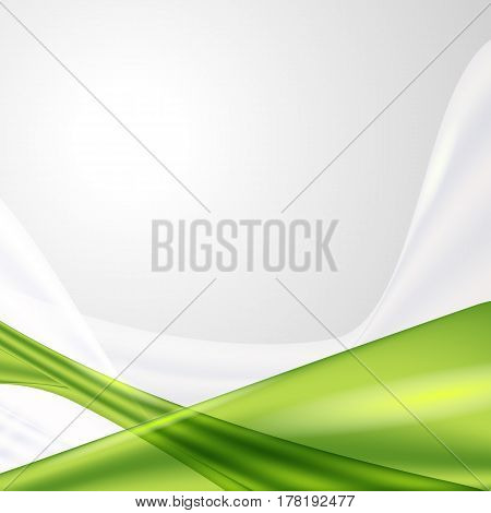 Abstract gray waving background with green element. Empty space for text. Vector illustration, easy for editing