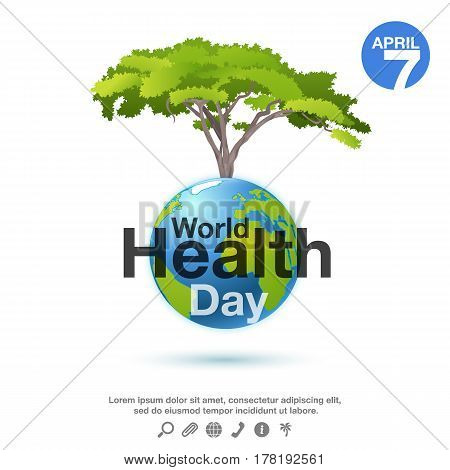 World Health Day poster or banner background with planet and green tree