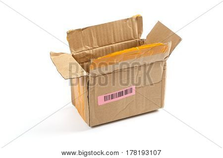 Open cardboard box with a label and barcode