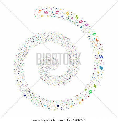 Boot Footprints fireworks vortex spiral. Vector illustration style is flat bright multicolored scattered symbols. Object swirl combined from scattered pictographs.