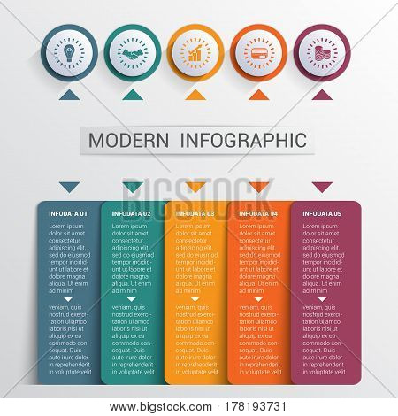 Infographics design template color buttons and numbered 5 plates shapes modern website template.