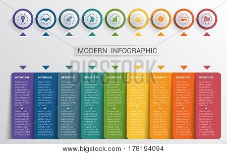 Infographics design template color buttons and numbered 9 plates shapes modern website template.