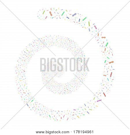 Chains fireworks whirl spiral. Vector illustration style is flat bright multicolored scattered symbols. Object swirl created from random icons.