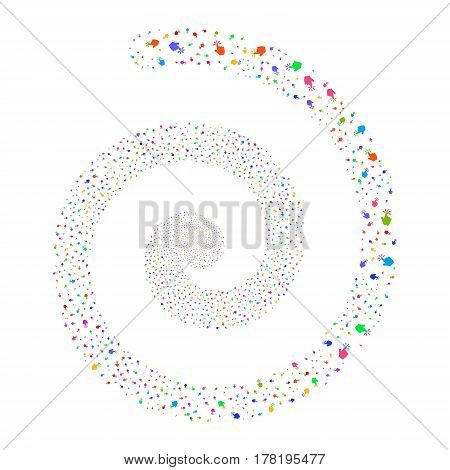 Click fireworks swirl spiral. Vector illustration style is flat bright multicolored scattered symbols. Object whirl organized from random icons.