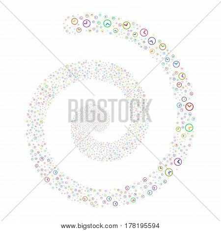 Clock fireworks burst spiral. Vector illustration style is flat bright multicolored scattered symbols. Object whirlpool constructed from random pictograms.