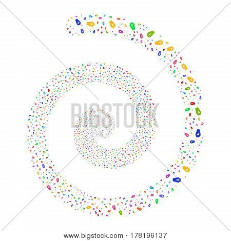 Coffin fireworks swirl spiral. Vector illustration style is flat bright multicolored scattered symbols. Object swirling done from scattered symbols.