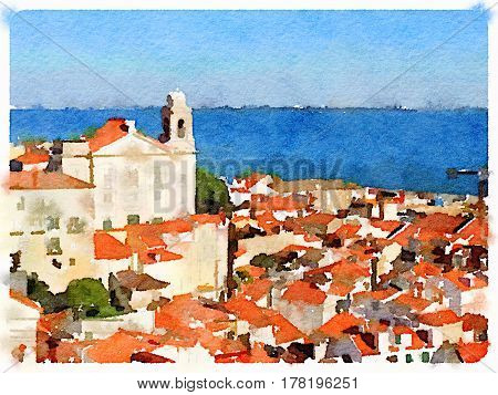 Digital watercolor painting of colorful rooftops in Lisbon with the river in the background and space for text.