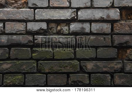 Darkness In An Old Ruined Brick Wall