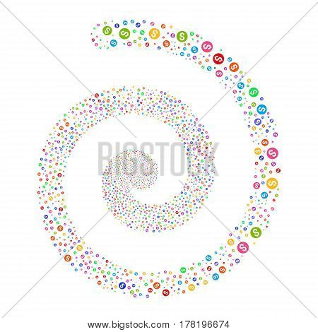 Coin fireworks swirl spiral. Vector illustration style is flat bright multicolored scattered symbols. Object twirl combined from scattered icons.