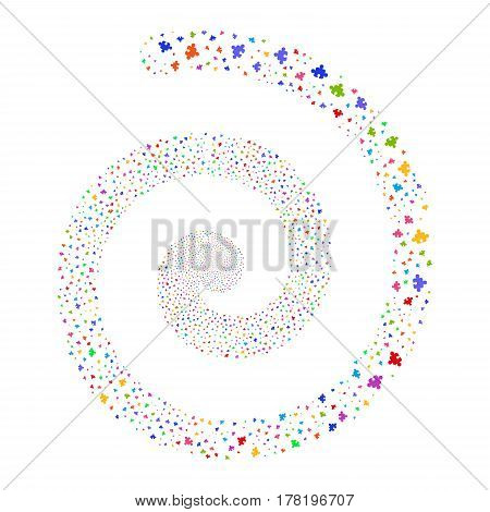 Component fireworks vortex spiral. Vector illustration style is flat bright multicolored scattered symbols. Object twirl made from random design elements.