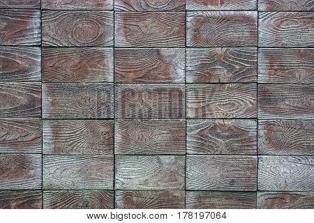 Gray background of wooden blocks of wooden wall