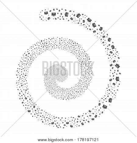 Analysis fireworks whirlpool spiral. Vector illustration style is flat gray scattered symbols. Object vortex made from random pictograms.