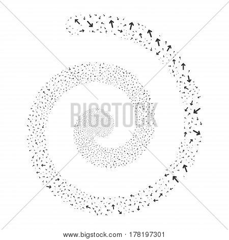 Arrow Direction fireworks whirl spiral. Vector illustration style is flat gray scattered symbols. Object whirlpool made from scattered pictographs.