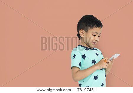 Little Boy Holding Phone Concept
