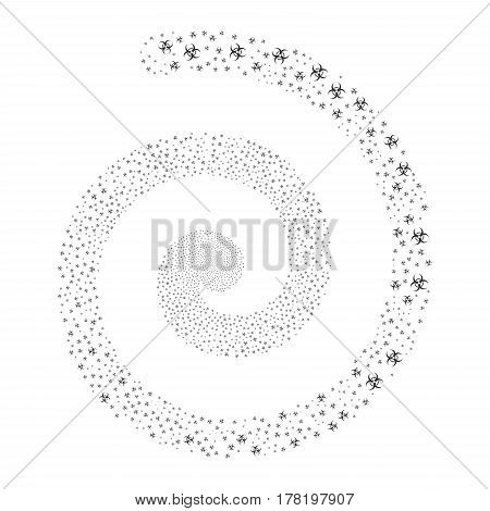 Biohazard fireworks vortex spiral. Vector illustration style is flat gray scattered symbols. Object whirl done from scattered icons.