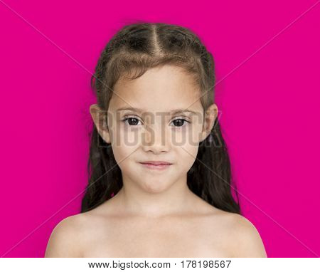 Young asian girl with awkward smile shoulder and head portrait