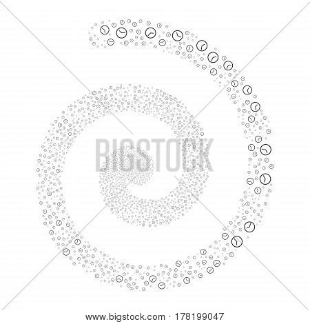 Clock fireworks whirl spiral. Vector illustration style is flat gray scattered symbols. Object twirl made from random symbols.