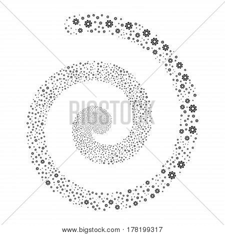 Cog fireworks burst spiral. Vector illustration style is flat gray scattered symbols. Object whirlpool created from random pictograms.