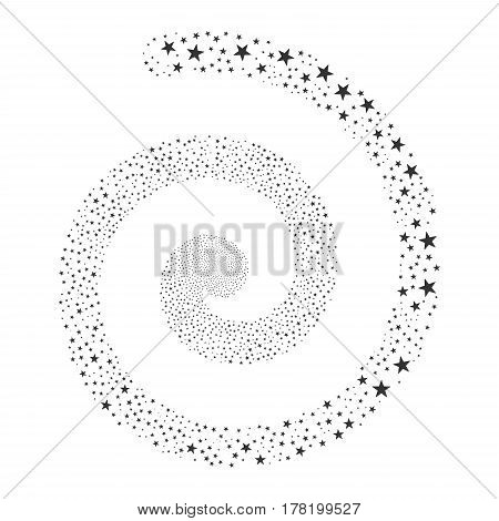 Confetti Star fireworks vortex spiral. Vector illustration style is flat gray scattered symbols. Object whirlpool constructed from scattered pictograms.