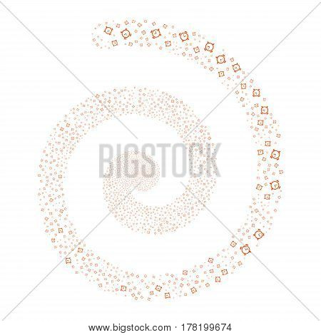 Alarm Clock fireworks burst spiral. Vector illustration style is flat orange scattered symbols. Object swirl done from random pictograms.