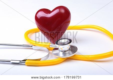 Medical stethoscope and red heart isolated on white background. you can place your text