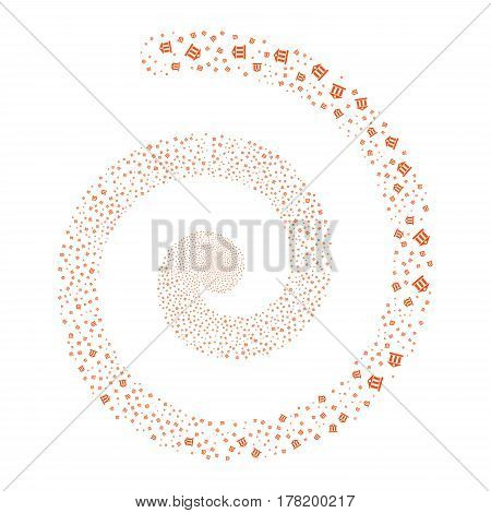 Bank Building fireworks burst spiral. Vector illustration style is flat orange scattered symbols. Object whirlpool constructed from scattered icons.