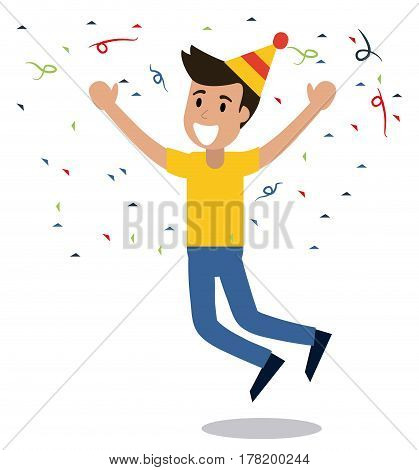 man cheerful dance party confetti vector illustration eps 10