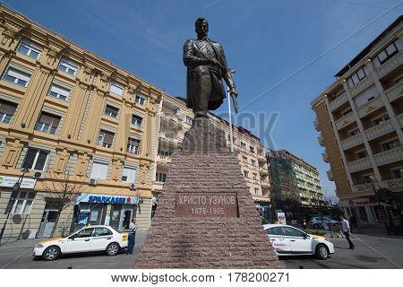 Skopje, Macedonia, march 20, 2017: Statue of Christo Uzunov in Skopje, Macedonia