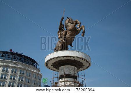 Skopje, Macedonia, march 20, 2017: Statue of Alexander the Great in Skopje, Macedonia